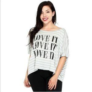 🆕Love  It Sequin Logo Striped Shirt ⭐️